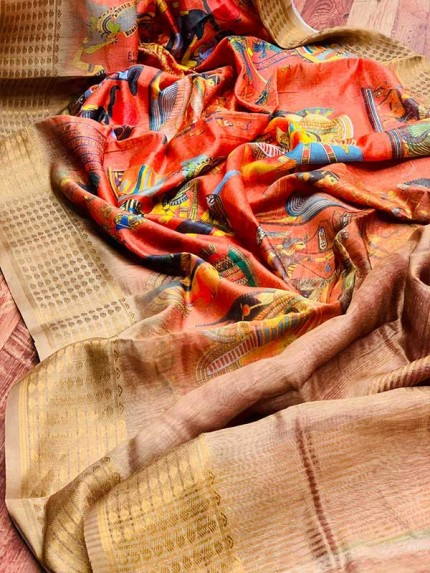 Stunning Orange Color Handloom Linen With Digital Printed Kalamkari Hit Design Saree