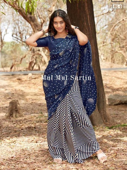 Classic Look Blue Color Pure Sattin Silk With Floral Print Saree