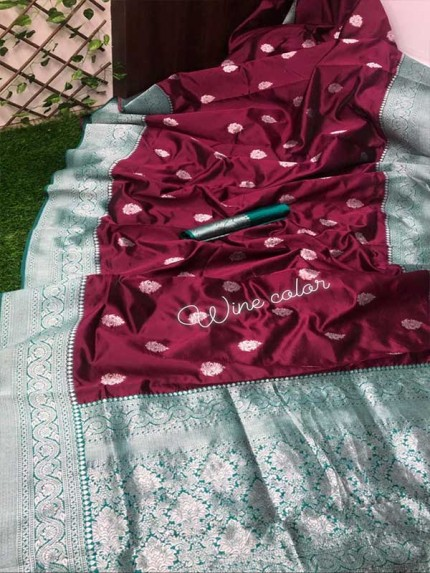 Wine Colored Beautiful Soft Silk Saree With Silver Zari Design  Saree