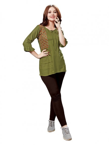 Summer Special Green color Heavy Rayon Slub Top
