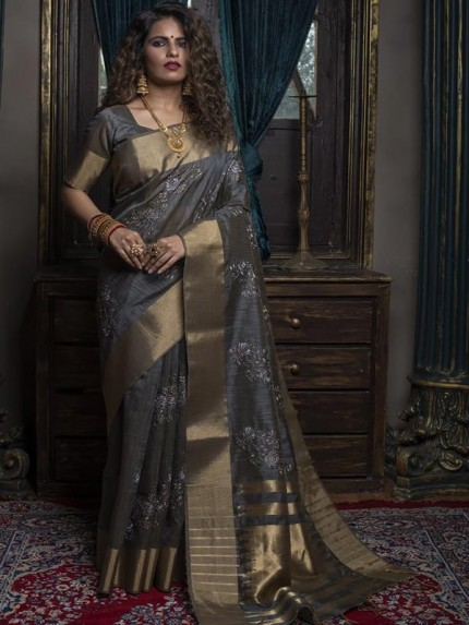 Stunning Look Grey Colour silk weaving Saree with Zari ikkat Woven Pallu