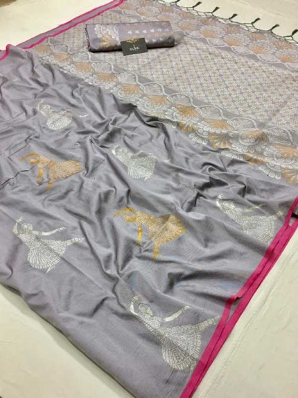 Married Season Grey Color Soft Weaving Silk Saree