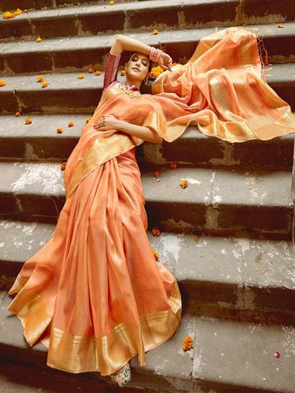 Pretty Look Orange Color Soft Tissue Zari With Doube Blouse Saree