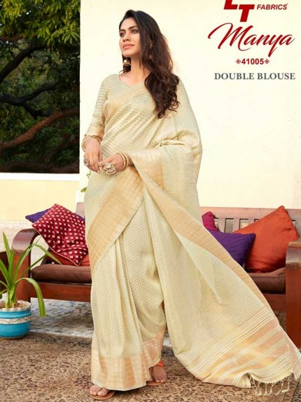 Pretty Look Cream Color Tissue Zari Saree with pretty weave