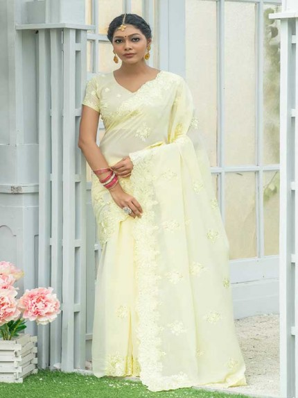 Married Season Yellow Colour  Fancy embroidered work sarees