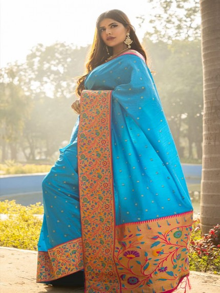 Rich Look SkyBlue Colour Patch Weaving Border With Soft Silk Saree