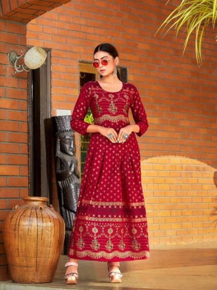 Red Colour Heavy 14kg Rayon  With  Guaranteed Foil Print