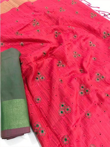 Attractive Look Pink Colour Banglori Raw Silk Saree with Embroidered Cut Work