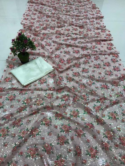 Stylish Look Sartin Silk Printed Saree with Floral sequence work