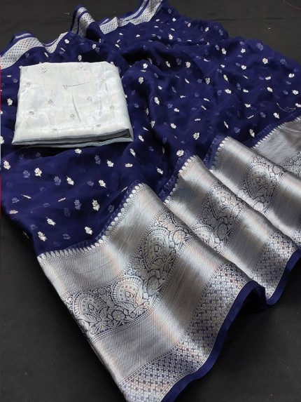 Hit Design Pure Organza Saree with Sequence Work & Contrast Kanchi Borders