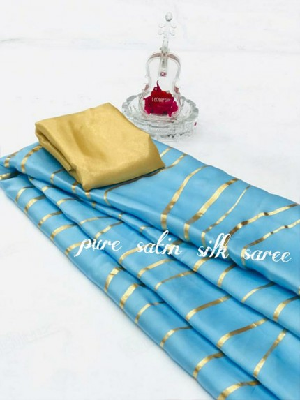 Classic Look SkyBlue Color Pure Satin Silk With Floral Print Saree