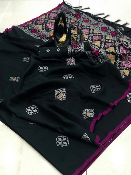 Latest Wedding Look Black Color Banarasi Silk Weaving Saree with Rich Pallu