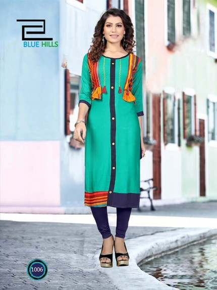 SkyBlue color Heavy Rayon Printed Kurti With Hand Work