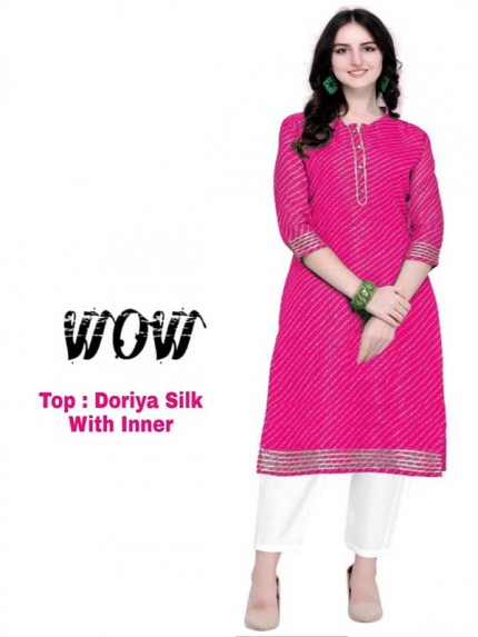 Summer Special Pink color Doriya Silk Kurti