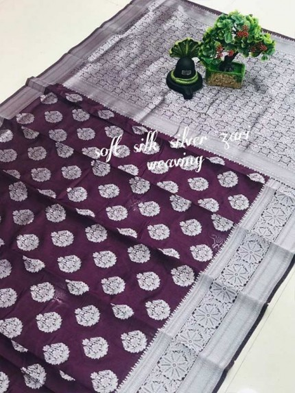 Latest Wedding Look Purple Color Soft Silk Silver zari weaving Saree with Rich Pallu