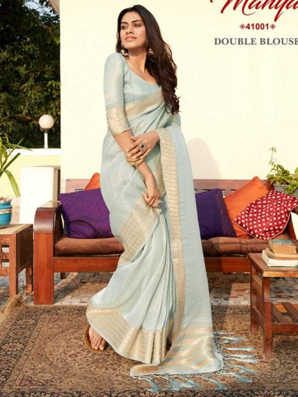 Pretty Look SkyBlue Color Tissue Zari Saree with pretty weave