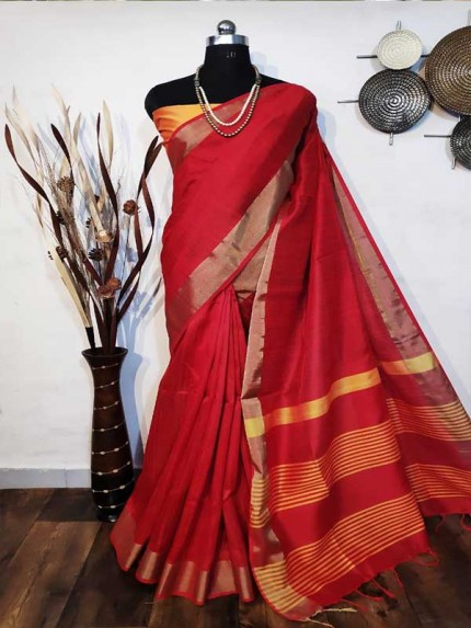 New Eye Catcher Red Color Raw Silk Saree With mutli color border