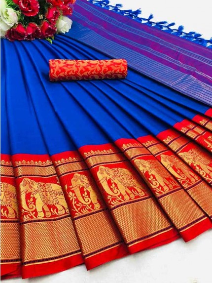 Elegance Look Blue Colour Cotton Silk Saree with Broad contrast border