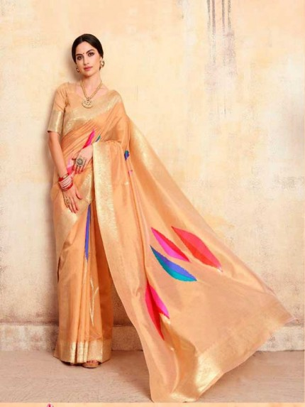 Bollywood Look Beige Color Krystal Silk with Rich Pallu Design Saree