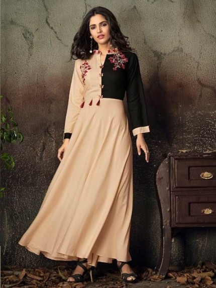 Cream Color Heavy Rayon Long Kurti with Embroidery Work