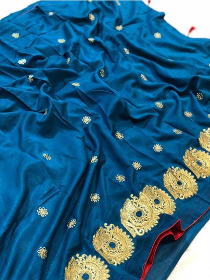 Blue Color Vichitra Silk With Embroidery Saree