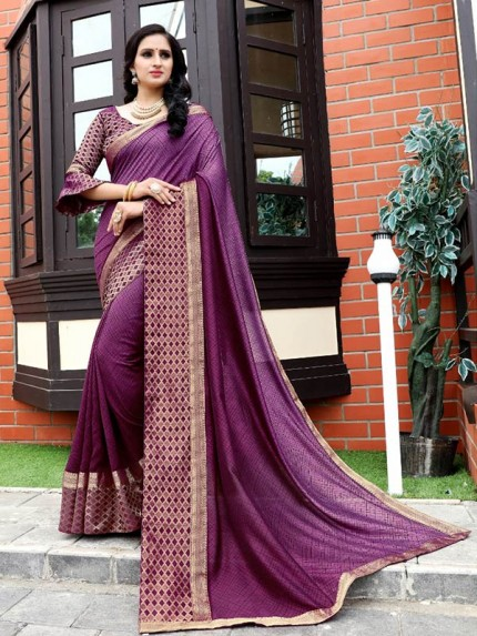 Wedding Designer Vichitra Silk Printed Saree with heavy big border