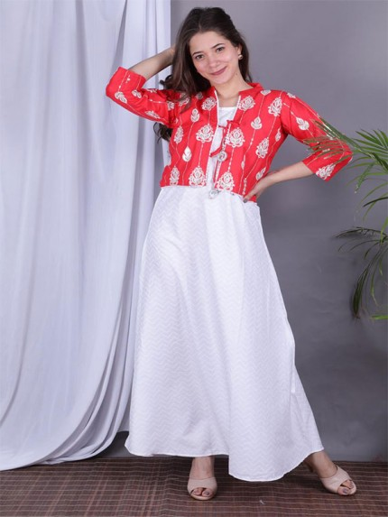 White Color Heavy Rayon Kurti With Jacket
