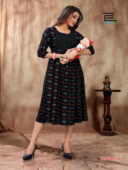 14 kg Rayon Print Kurti Specially Made for Feeding and during Maternity Period