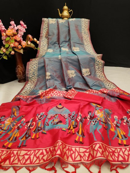 Grey Colour Soft Raw Silk Two Tone Weaving Saree With Antique Design