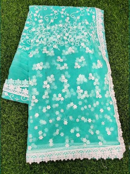 Bollywood Cyan Color Mono Net Fabric Saree With Heavy Finished Chikankari Work