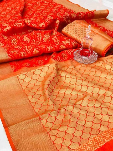 Latest Wedding Look Orange Color Banarasi Patola Silk Saree with Weaving Blouse