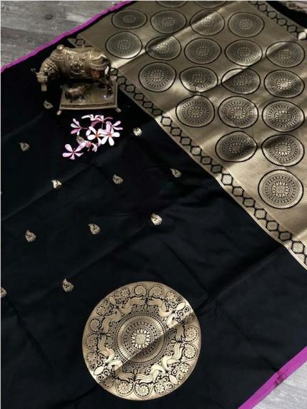 Stunning Look Black Color Banarsi Silk Fabric Saree