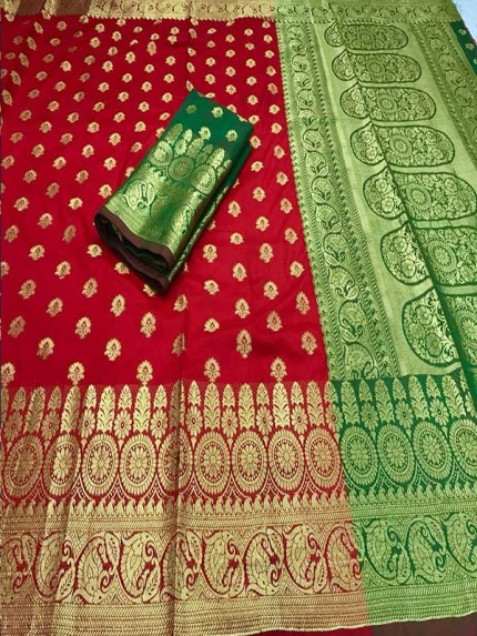 Pretty Look Red Color banarasi silk saree with heavy zari rich pallu