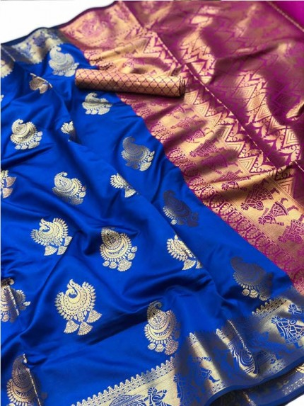 Pretty Look Blue Color Banarasi Silk Saree with Zari work