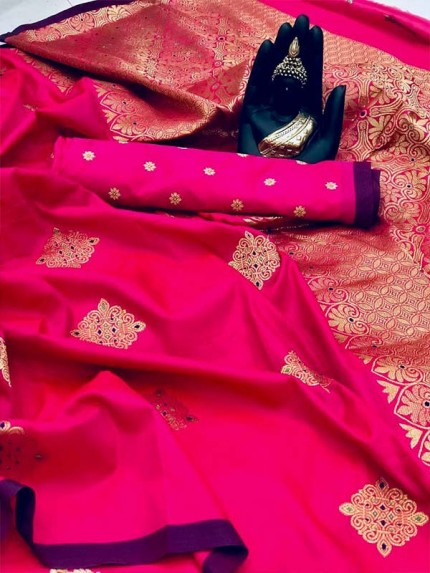 Attractive Look Pink color Banarasi Handloom Weaving Silk Saree