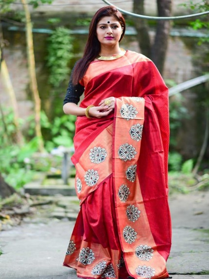 Designer Look Red Color Raw Silk weaving saree with embroidery butta