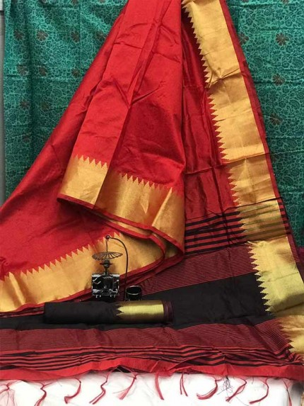 Bollywood Look Maroon Color Krystal Silk with Weaving Pallu n Golden Zari Temple Border