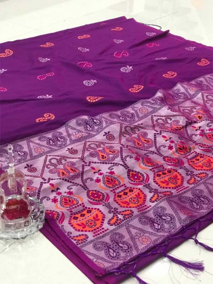 Purple Colour Soft Silk Weaving Jecard Saree With Reach Pallu And Beautiful Wiaving Blouse