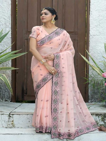 Married Season Pink Colour  Fancy embroidered work sarees