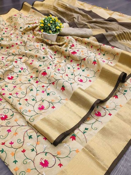 Beautiful Chiku Colour Asam Silk Saree With Beautiful Embroidered Jal Work All Over