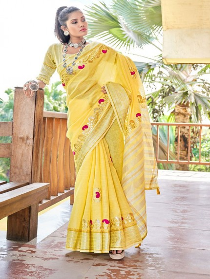 Stunning Yellow Color Soft linen with Beautiful Gotapatti Border Saree