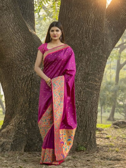 Rich Look Wine Colour Patch Weaving Border With Soft Silk Saree