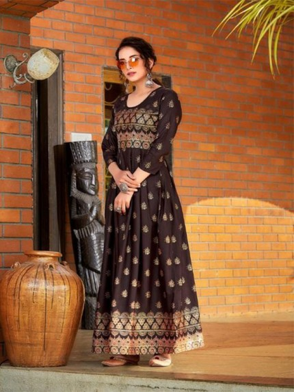 Brown Colour Heavy 14kg Rayon  With  Guaranteed Foil Print