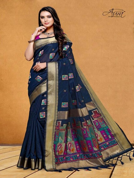 Stunning Look Blue Color Pure Cotton Silk Saree