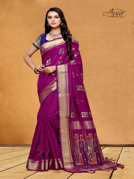 Stunning Look Purple Color Pure Cotton Silk Saree