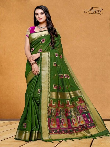 Stunning Look Green Color Pure Cotton Silk Saree