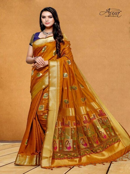 Stunning Look Gold Color Pure Cotton Silk Saree