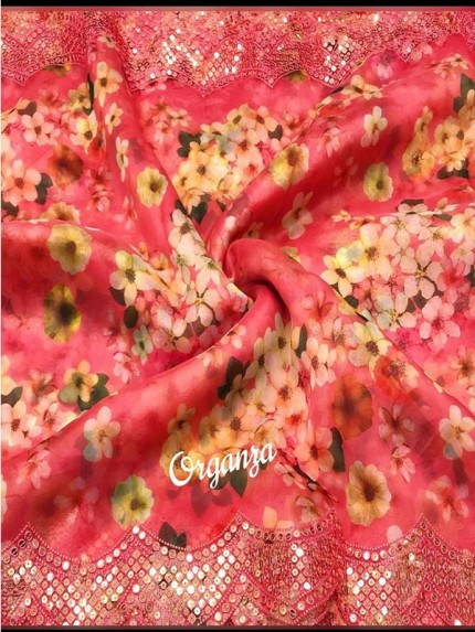 Celebrity Style Pure Organza Silk Printed Saree with sequence work