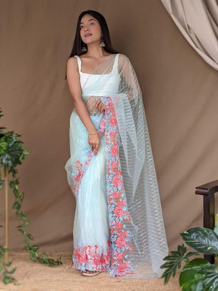 Celebrity Style Net Sequencing lining Saree with multi work flower