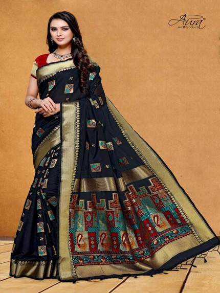 Stunning Look Black Color Pure Cotton Silk Saree